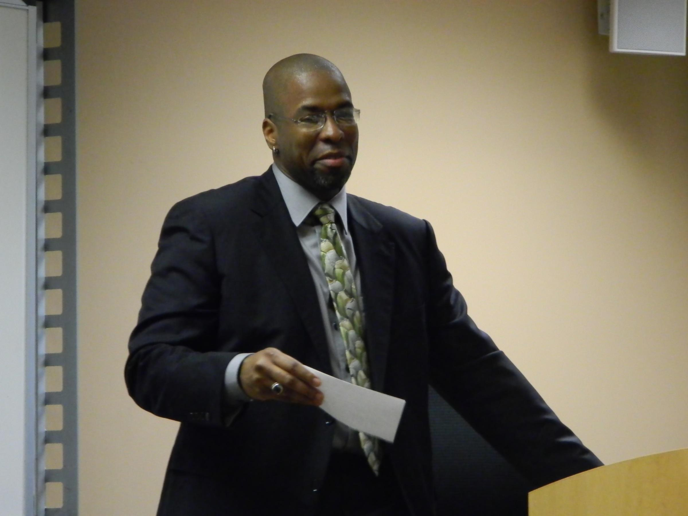 Jeffrey Sterling speaks to a class last year at Millikin. Sterling's life is still in limbo as he waits for the Department of Justice to decide whether to continue prosecution of his case.
