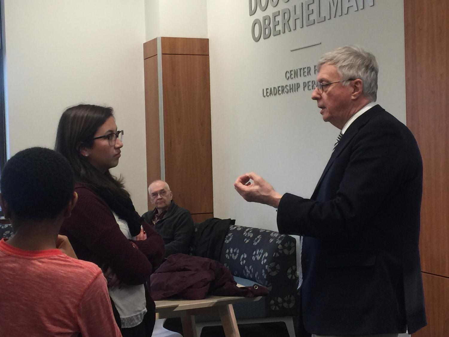 Rubi Rodriguez (Left) speaks with President Patrick White (Right) after the Student Senate Forum on March 27, 2019.