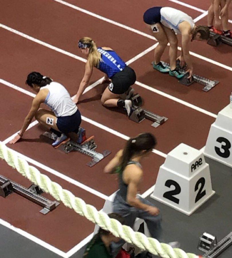 Alyssa Vignos prepares for the 600-meter hurdles.